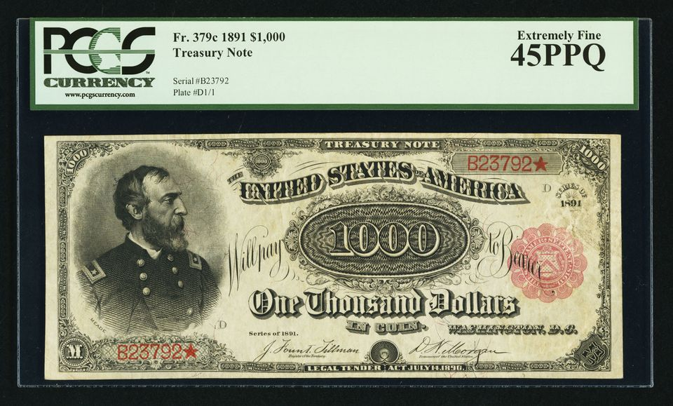 U S 1891 1 000 Treasury Note Sold By A Href Http