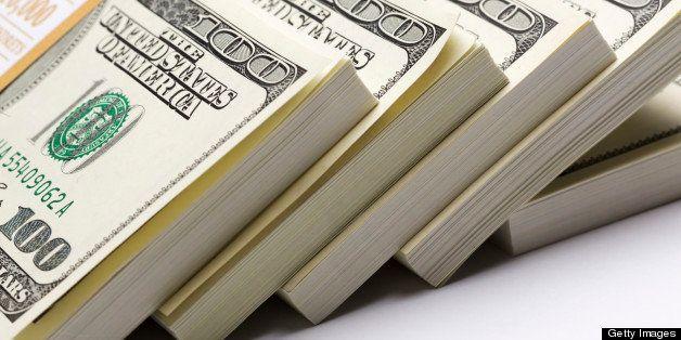 Dollars pack on white
