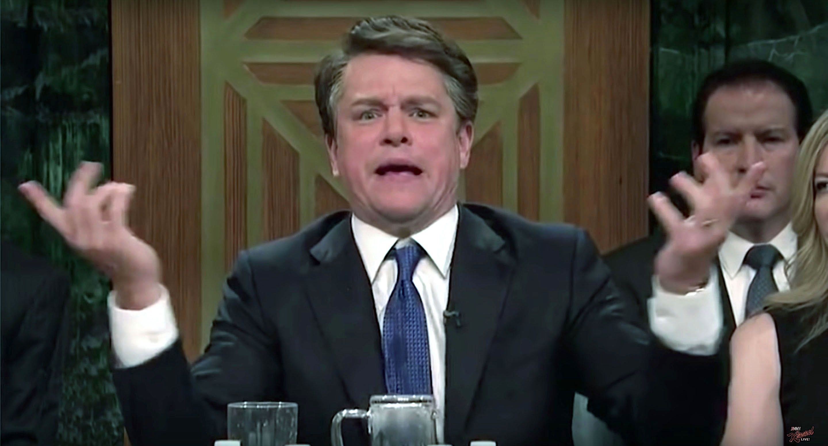 Matt Damons appearance on Saturday Night Live as Brett Kavanaugh did not impress Jimmy Kimmel
