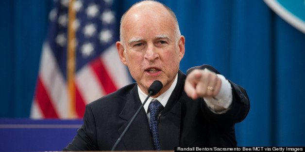 California Governor Edmund G. Brown Jr. explains his budget proposal during a news conference at the California State Capitol