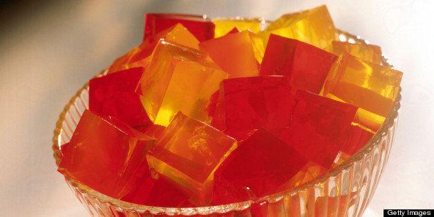 Gelatin cubes in glass bowl