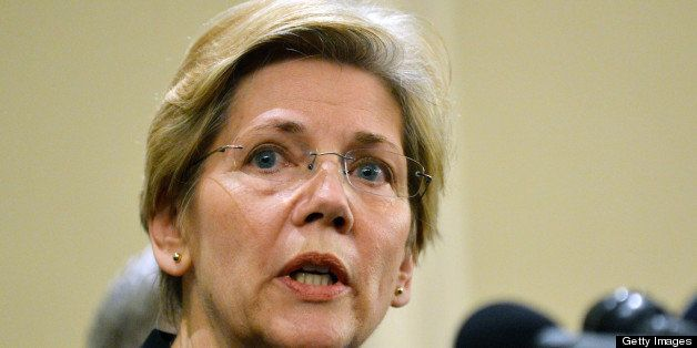 US Senator Elizabeth Warren ,D-MA, speaks at a press conference April 16, 2013 in Boston, Massachusetts, in the aftermath of