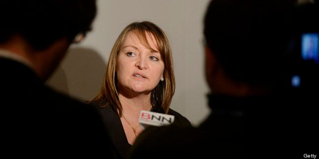 Christine Day, chief executive officer of Lululemon Athletica Inc., speaks to the media following an event at the Toronto Reg