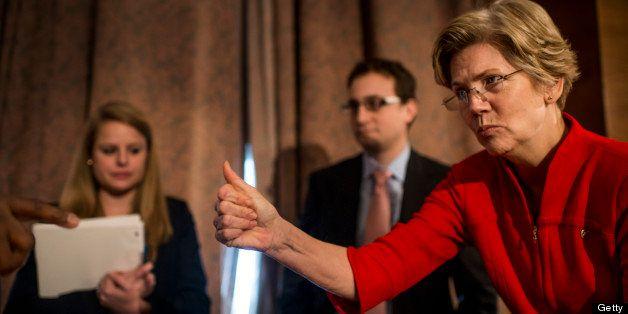 WASHINGTON, DC - February 14: Senator Elizabeth Warren during her first hearing as a US Senator at the Senate Banking Committ