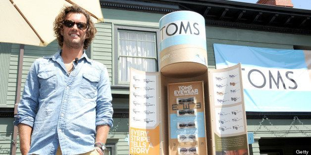 SANTA MONICA, CA - JUNE 07:  TOMS Shoes founder Blake Mycoskie speaks during the celebration of the new One For One TOMS eyew
