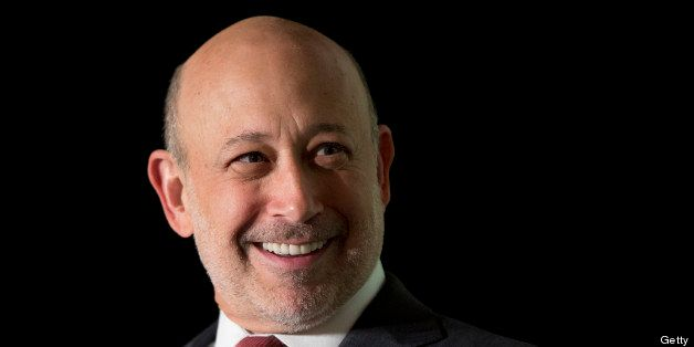 Lloyd Blankfein, chief executive officer of Goldman Sachs Group Inc., smiles during an interview hosted by Politico in Washin