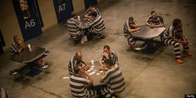 WILLISTON, ND - JULY 26:  Inmates sit in the county jail on July 26, 2013 in Williston, North Dakota. The state has seen a ri