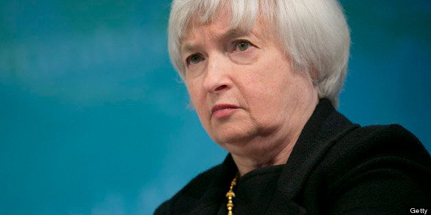 Janet Yellen, vice chairman of the U.S. Federal Reserve, listens at a macro policy discussion during the International Moneta