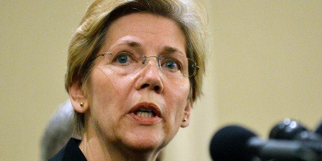 US Senator Elizabeth Warren ,D-MA, speaks at a press conference April 16, 2013 in Boston, Massachusetts, in the aftermath of