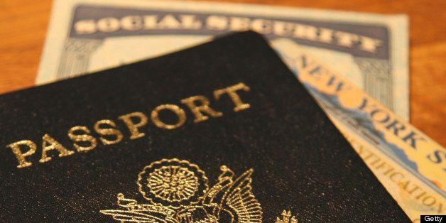 'passport, social security, new york state id card. shallow dof.'