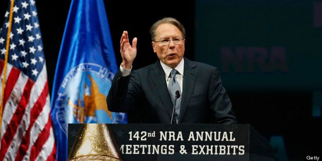 Wayne LaPierre, chief executive officer of the National Rifle Association (NRA), speaks during the 2013 NRA Annual Meetings &