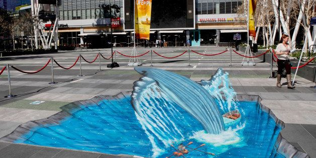 LOS ANGELES, CA - MARCH 12:  Artist Tracy Lee Stum's recreation of an iconic scene from 'Life of Pi' in 3D chalk art is seen