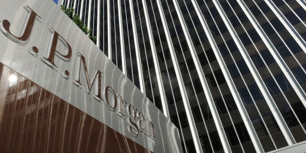 A JPMorgan sign is seen outside the office tower housing the financial services firm's Los Angeles, California offices, Augus