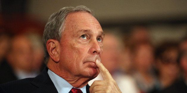 BIRMINGHAM, ENGLAND - OCTOBER 10:  Michael Bloomberg, the Mayor of New York City,  looks on before delivering his speech to d