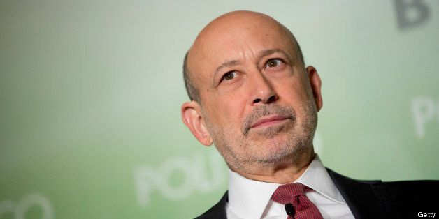 Lloyd Blankfein, chief executive officer of Goldman Sachs Group Inc., listens during an interview hosted by Politico in Washi