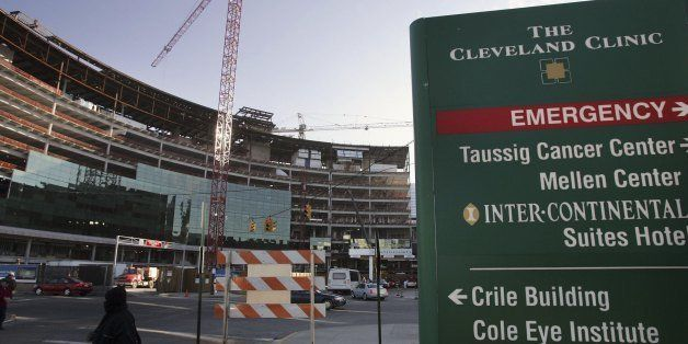 CLEVELAND - DECEMBER 19: A crane stands outside of the Cleveland Clinic where Italy's former prime minister Silvio Berlusconi