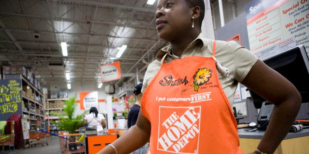 Sherma Chambers, assistant store manager, works at a Home Depot store in the Brooklyn borough of New York, U.S., on Thursday,