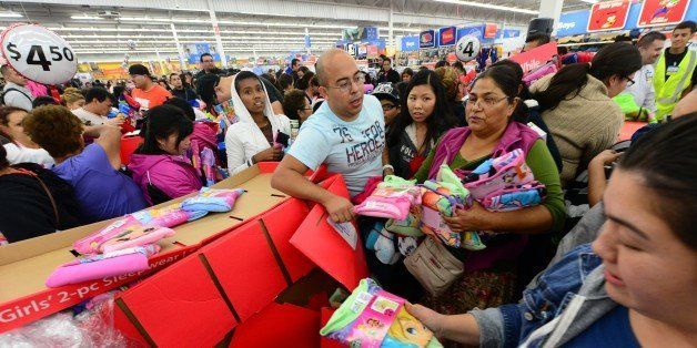 People get an early start on Black Friday shopping deals at a Walmart Superstore on November 22, 2012 in Rosemead, California