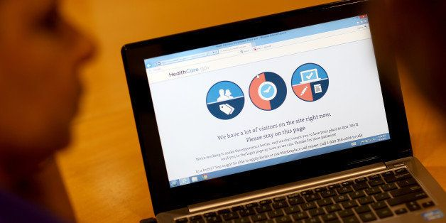 MIAMI, FL - OCTOBER 08: A message is seen on the computer indicating that there are too many visitors on the Affordable Care