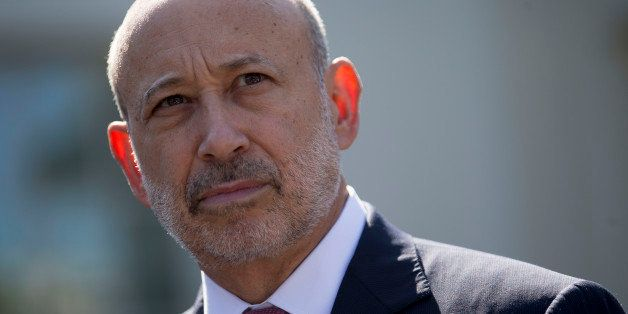 Lloyd Blankfein, chief executive officer of Goldman Sachs Group Inc., listens to a question during a news conference after a
