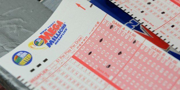 Mega Millions lottery ticket forms at a convenience store on the east side of Manhattan March 30, 2012 in New York. The jackp