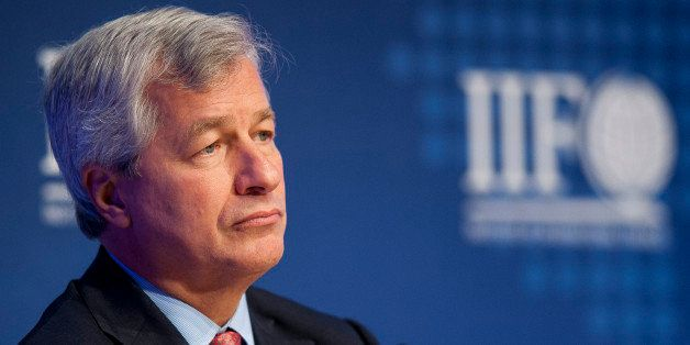 Jamie Dimon, chairman, president and chief executive officer of JPMorgan Chase & Co., listens during the Institute of Interna