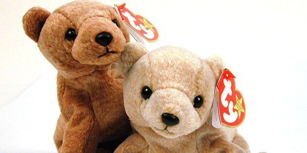 Pair of Beanie Baby bears, Pecan & Almond.  (Photo by Urbano Delvalle//Time Life Pictures/Getty Images)
