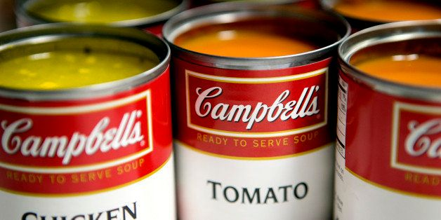 Cans of Campbell Soup Co. Campbell's chicken noodle and tomato soup are arranged for a photograph in Washington, D.C., U.S.,