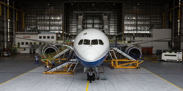 A Boeing Co. 787-9 Dreamliner test aircraft stands in a hangar at Air New Zealand Ltd.'s technical operations base at Aucklan