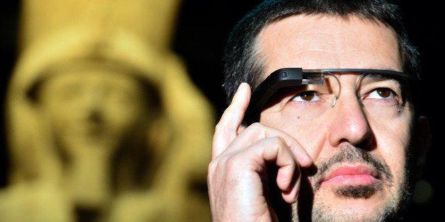 A man tests a pair of Google glasses equiped with LIS (Italian Sign Language - 'Linguaggio Italiano dei Segni') capabilities