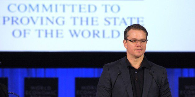 US actor and co-founder of Water.org, Matt Damon, addresses the audience prior to receive a World Economic Forum's Crystal Aw