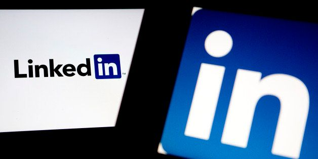 LinkedIn Corp. logos are displayed on laptop computers arranged for a photograph in Washington, D.C., U.S., on Monday, Oct. 28, 2013. LinkedIn Corp. is expected to release earnings figures on Oct. 29. Photographer: Andrew Harrer/Bloomberg via Getty Images