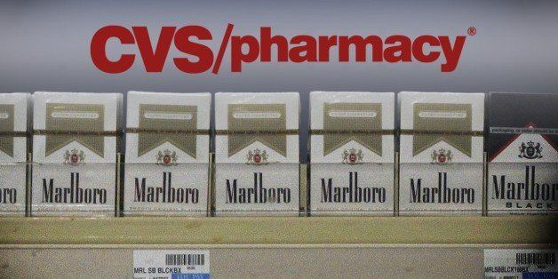Marlboro brand cigarettes on CVS store shelf, on texture with logo, finished graphic