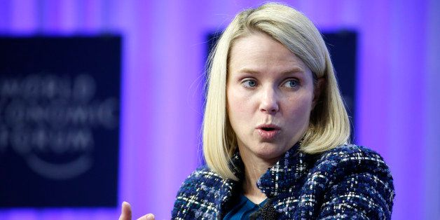 Marissa Mayer, chief executive officer of Yahoo! Inc., speaks during a panel session on day four of the World Economic Forum