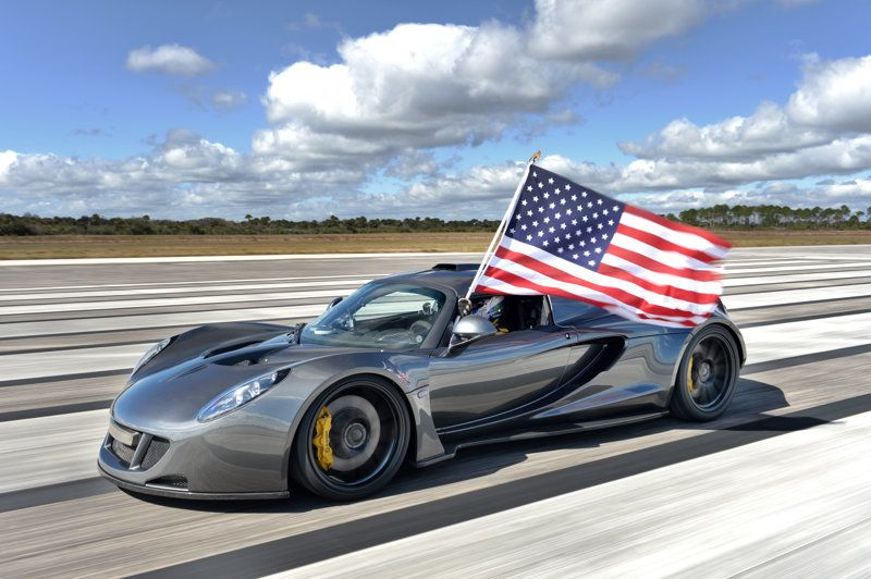 The Hennessey Venom GT shows its colors after the U.S.-made car tops the speed record for a production vehicle set by the Bug