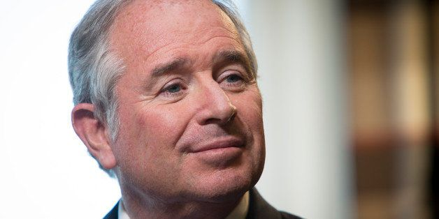 Stephen Schwarzman, chairman and chief executive officer of Blackstone Group LP, pauses during a Bloomberg Television intervi