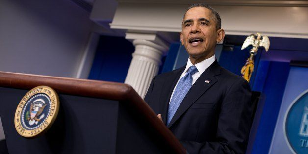 US President Barack Obama makes a statement about the situation in Ukraine in the White House briefing room in Washington on
