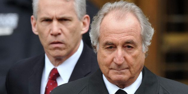 UNITED STATES - MARCH 10:  Bernard Madoff leaves Manhattan Federal court after a hearing there Tusday afternoon. The bulletpr