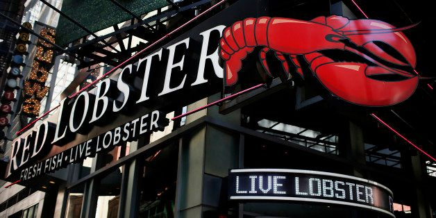 Red Lobster signage is displayed outside of a restaurant location in New York, U.S., on Wednesday, Sept. 19, 2012. Darden Res