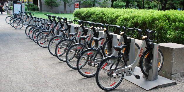 BIXI public bicycle sharing service, Old Montreal (Vieux-Montréal), Montreal, Quebec (Montréal, Québec), Canada  - - - - -