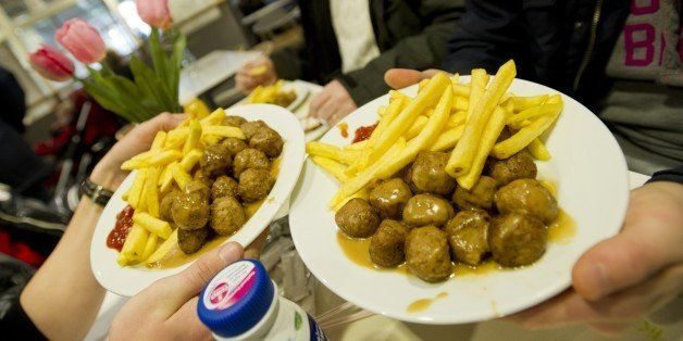 Meat balls are served in a restaurant of Ikea in Amsterdam on March 23, 2013. Swedish furniture giant Ikea said last week it