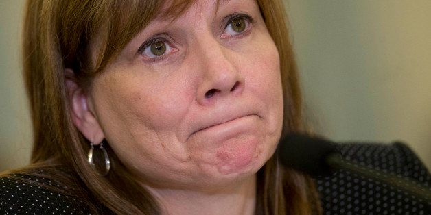 Mary Barra, chief executive officer of General Motors Co. (GM), pauses while speaking during a Senate Consumer Protection, Pr