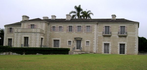 A view of the side of the Indiana limestone facade of Bellosguardo.