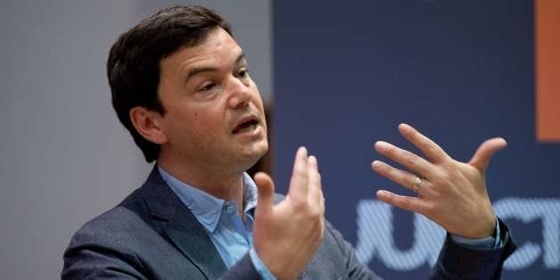 French economist Thomas Piketty speaks to students and guests during a presentation at King's College, central London, on Apr