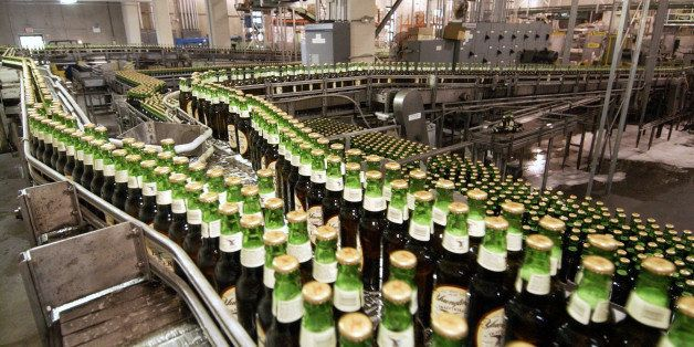 UNITED STATES - JUNE 29:  Bottles of lager move through the assembly line at the Yuengling brewery in Pottsville, Pennsylvani