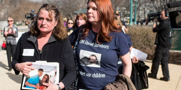 UNITED STATES - APRIL 1: From left, Cherie Sharkey, whose son died in a Chevy Cobalt crash in 2012,  and Laura Christian, who