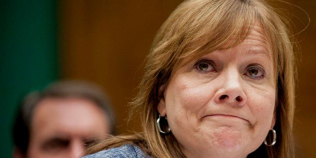 Mary Barra, chief executive officer of General Motors Co., listens while testifying at a House Energy and Commerce Committee