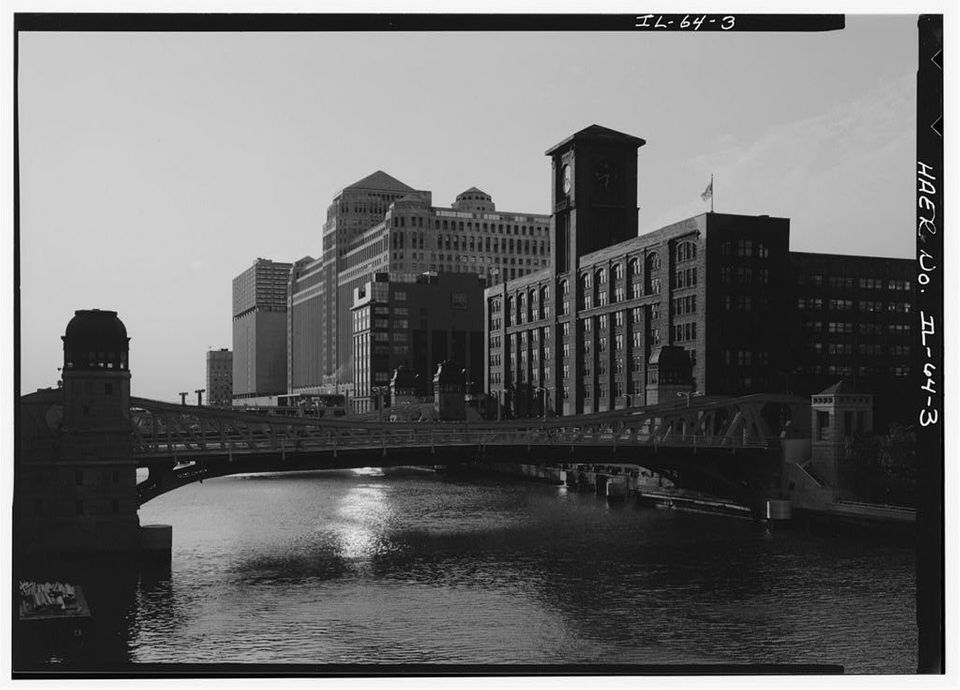 This undated photo shows Clark Street crossing the Chicago River.