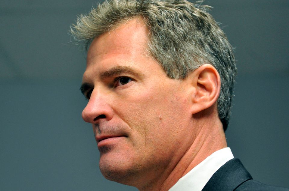 FILE - In this Dec. 9, 2009 file photo, then-Republican senatorial candidate Scott Brown responds to a reporter's question du