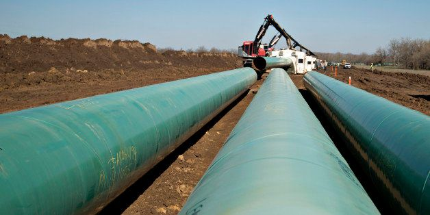 Three sections of pipe sit on the ground during construction of the Gulf Coast Project pipeline in Atoka, Oklahoma, U.S., on